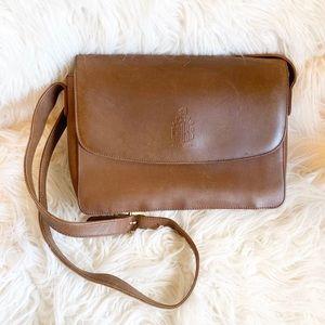 Vintage Mark Cross Tan Brown Leather Shoulder Bag